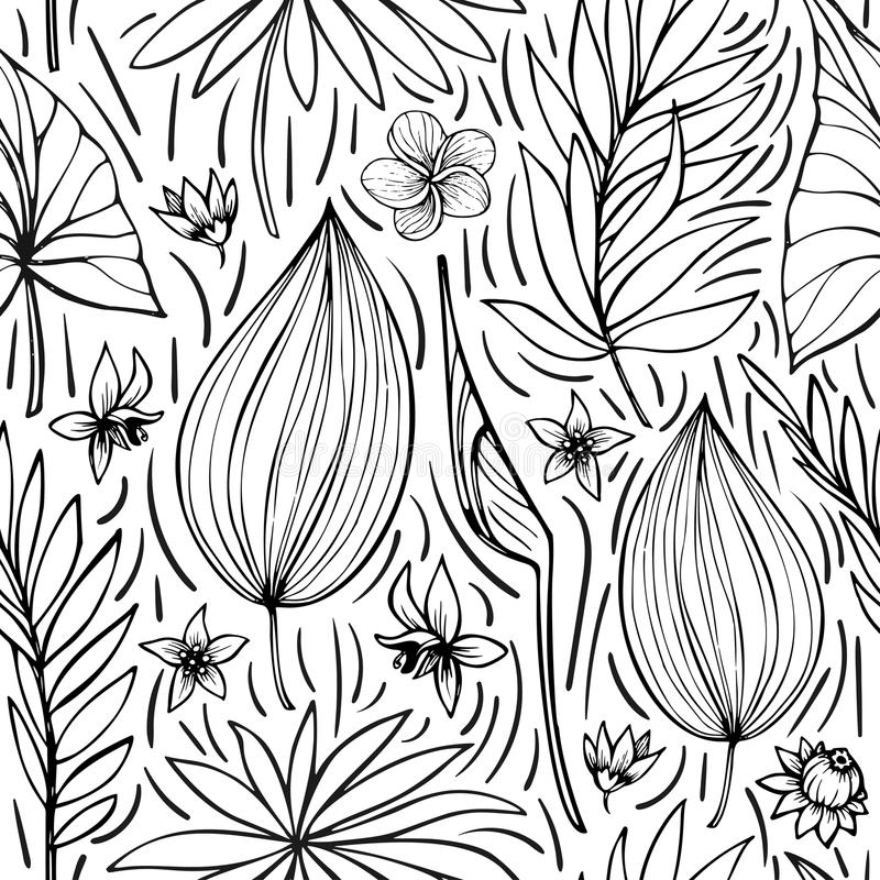 Vector seamless beautiful artistic bright tropical pattern with banana, Syngonium and Dracaena leaf, summer beach fun. Black and white original stylish floral stock illustration
