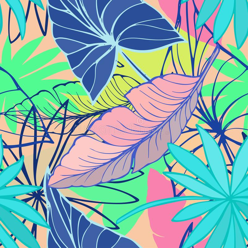 Vector seamless beautiful artistic bright tropical pattern with banana, Syngonium and Dracaena leaf, summer beach fun royalty free illustration