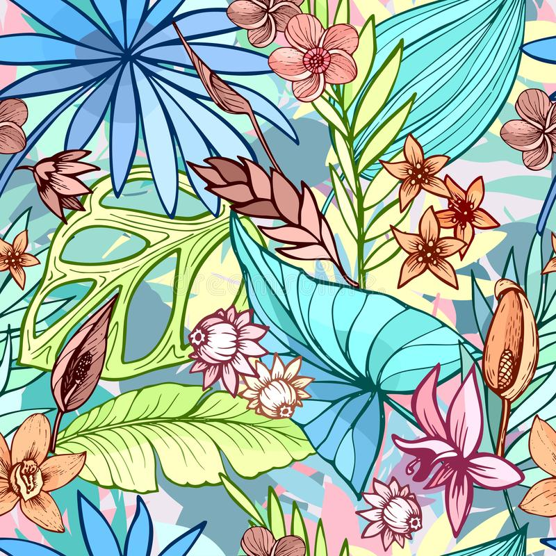 Vector seamless beautiful artistic bright tropical pattern with banana, Syngonium and Dracaena leaf, summer beach fun stock photo