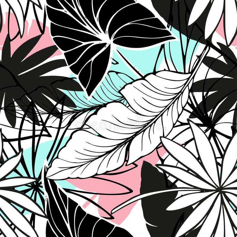 Vector seamless beautiful artistic bright tropical pattern with banana, Syngonium and Dracaena leaf, summer beach fun stock image