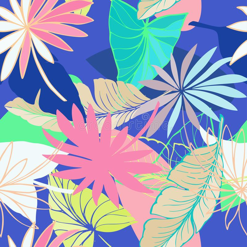 Vector seamless beautiful artistic bright tropical pattern with banana, Syngonium and Dracaena leaf, summer beach fun. Colorful original stylish floral vector illustration