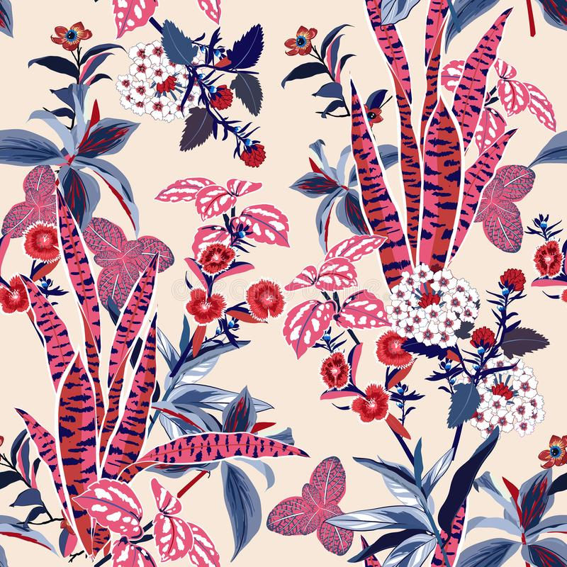 Vector seamless beautiful artistic bright tropical pattern with vector illustration