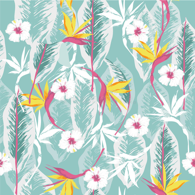 Vector seamless beautiful artistic bright tropical pattern with royalty free illustration