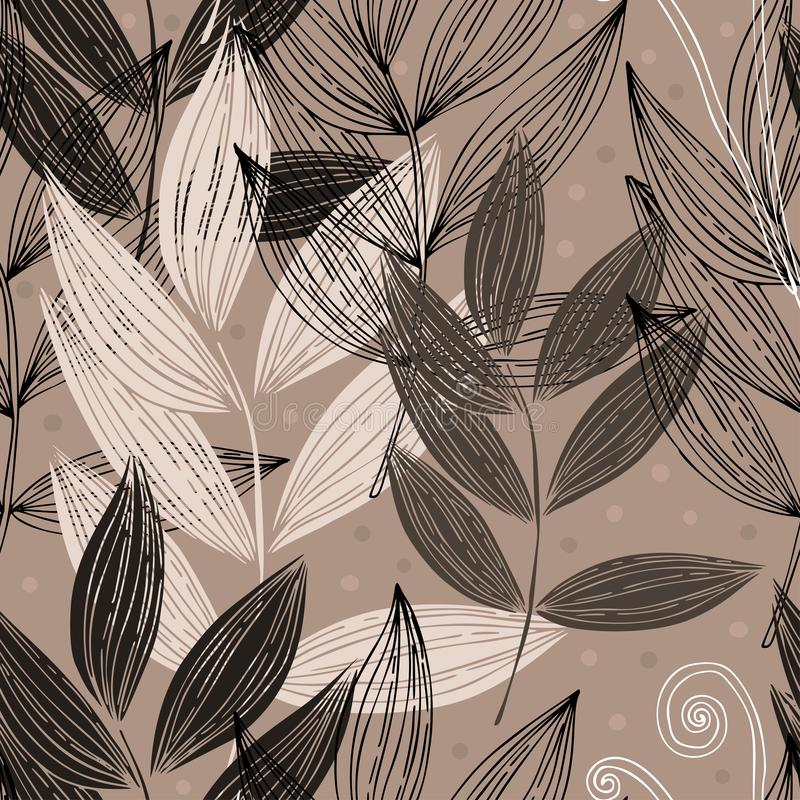 Vector seamless black gray and white twigs in pencil style on a light background.  vector illustration