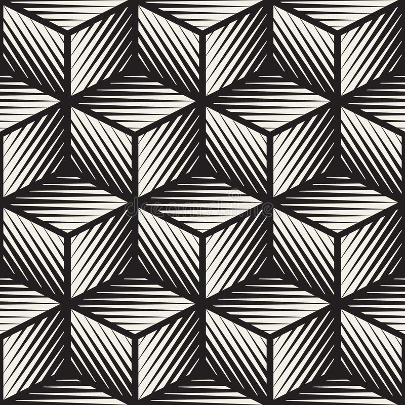 Vector Seamless Black And White Cube Shape Lines Engravement Geometric Pattern royalty free illustration
