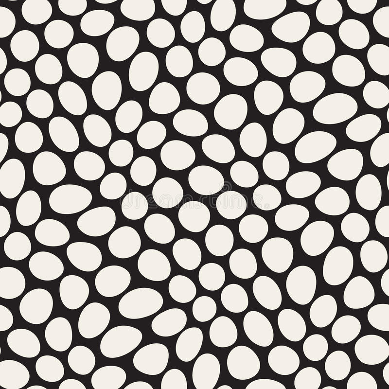 Vector Seamless Black and White Distorted Circles Pattern vector illustration