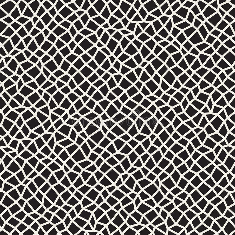 Vector Seamless Black and White Distorted Rectangle Mosaic Grid Pattern. Abstract Geometric Background Design vector illustration