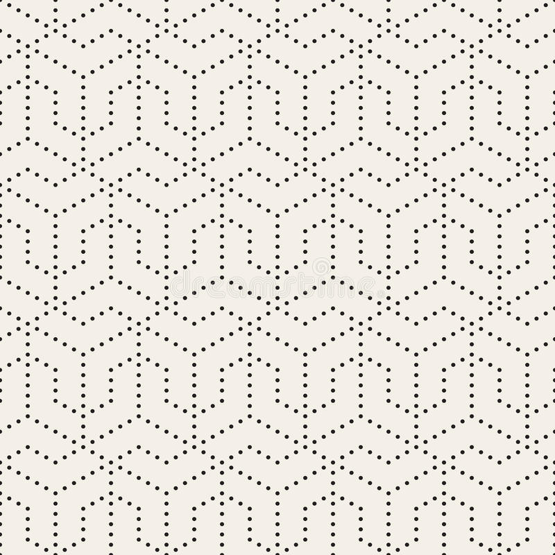 Vector Seamless Black and White Dotted Lines Grid Pattern. Abstract Geometric Background Design vector illustration