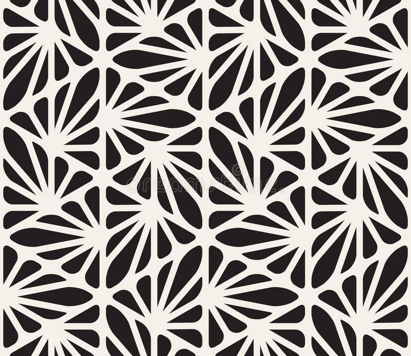 Vector Seamless Black and White Floral Organic Triangle Lines Hexagonal Geometric Pattern royalty free illustration