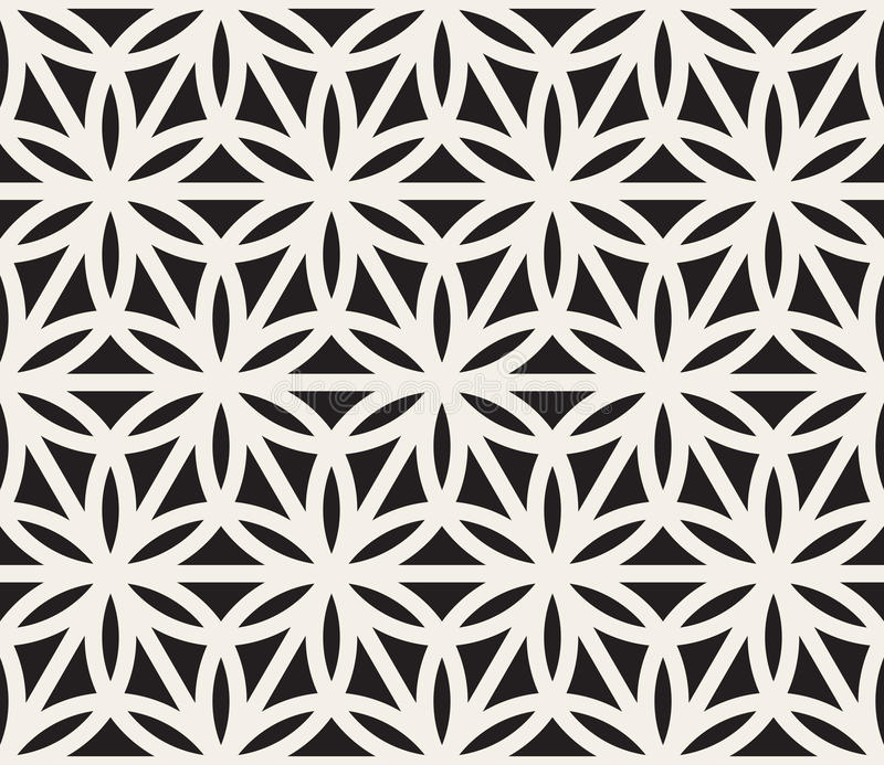 Vector Seamless Black And White Geometric Circle Triangle Shape Pattern vector illustration
