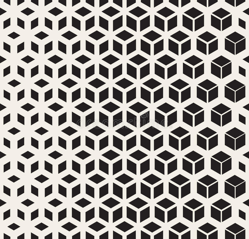 Vector Seamless Black And White Geometric Cube Shape Lines Halftone Grid Pattern. Abstract Background royalty free illustration
