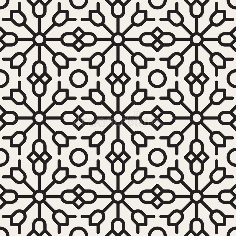 Vector Seamless Black and White Geometric Ethnic Floral Line Ornament Pattern stock illustration