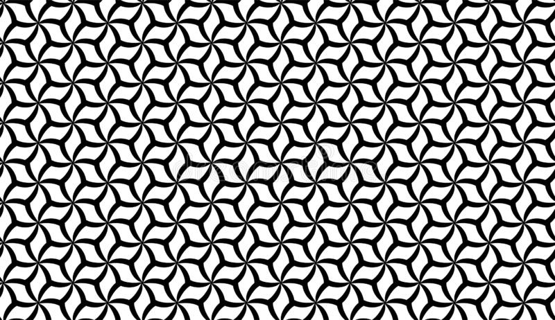 Vector Seamless Black and White Geometric flower Pattern Background royalty free illustration