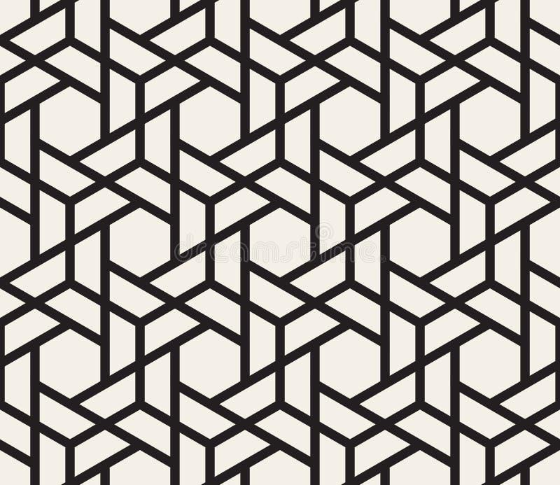Vector Seamless Black And White Geometric Hexagon Grid Pattern. Vector Seamless Black And White Hexagon Grid Pattern. Abstract Geometric Background Design vector illustration
