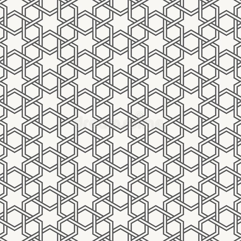 Vector Seamless Black And White Geometric Hexagon Lines Pattern. Abstract Geometric Background Design vector illustration