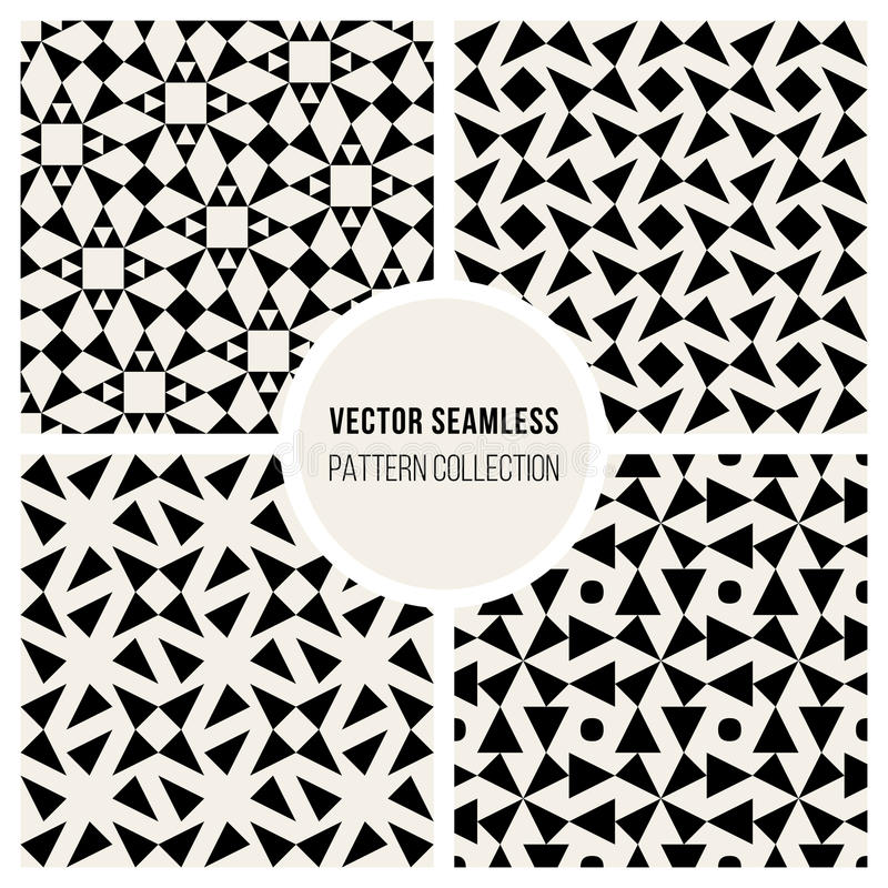 Vector Seamless Black and White Geometric Pattern Collection royalty free illustration