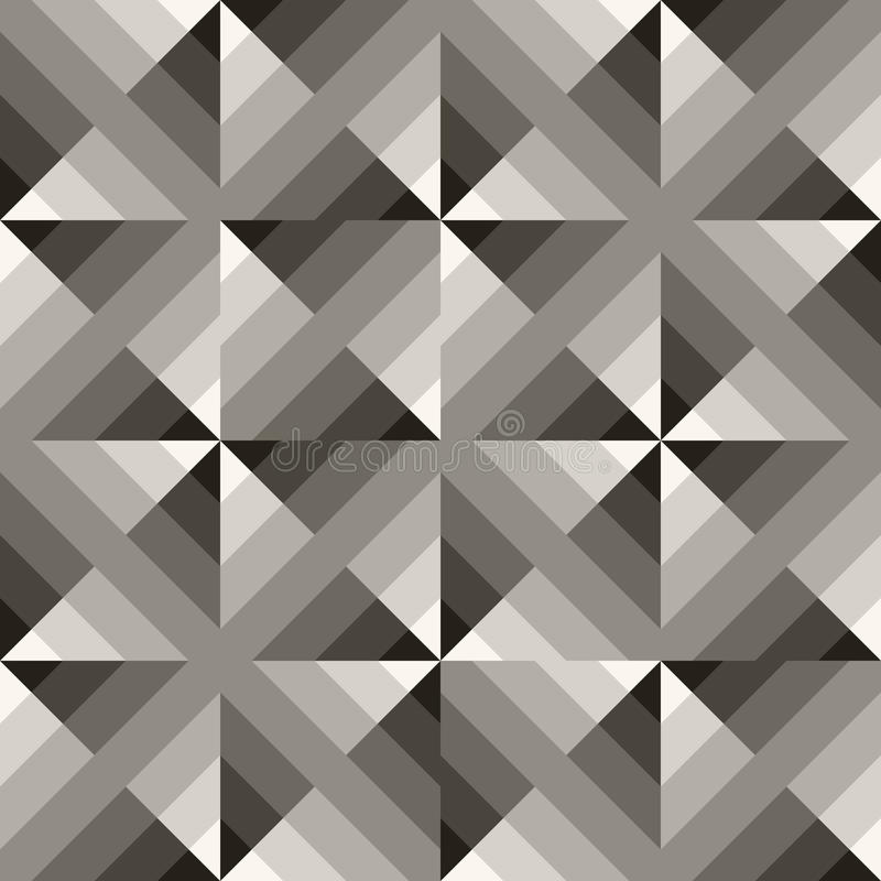 Vector Seamless Black & White Geometric Square Gradient Diagonals Pattern. Abstract Background stock illustration