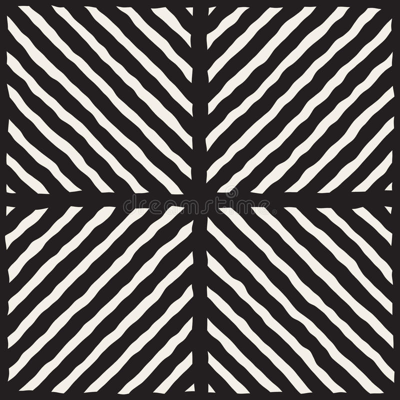 Vector Seamless Black And White Hand Drawn Diagonal Lines Grid Pattern. Abstract Freehand Background Design stock illustration