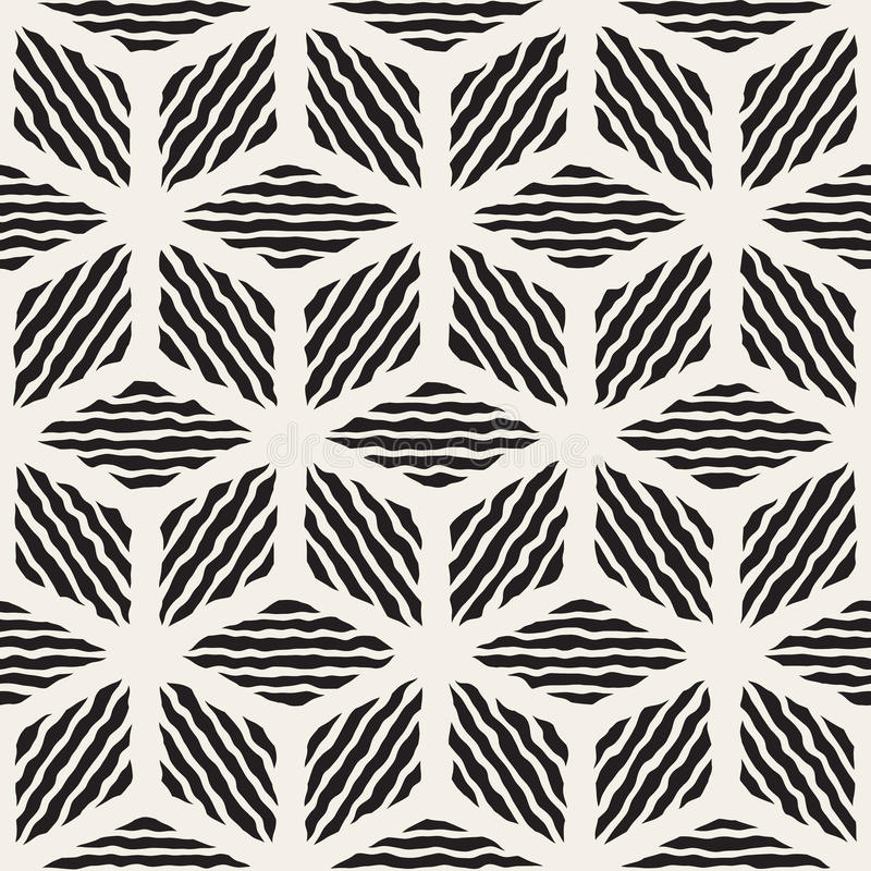Vector Seamless Black And White Hand Painted Line Geometric Rhombus Stripes Pattern. Abstract Background vector illustration