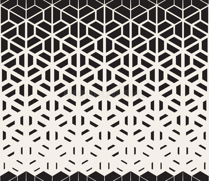 Vector Seamless Black and White Hexagon Triangle Split Lines Halftone Gradient Pattern. Abstract Background