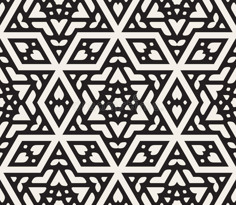 Vector Seamless Black And White Hexagonal Star Islamic Ornamental Pattern royalty free illustration
