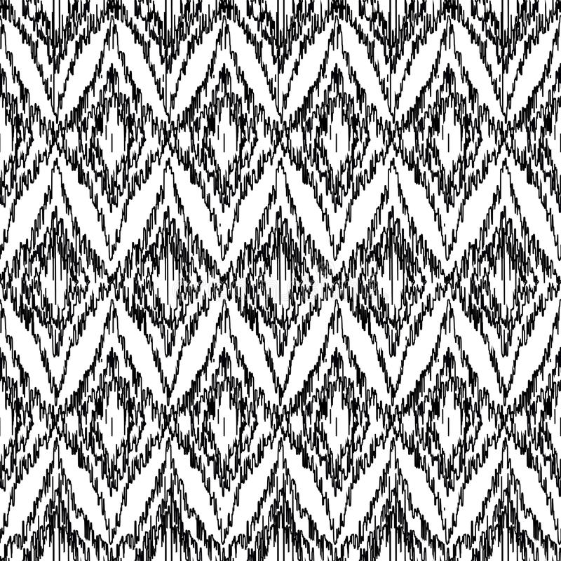 Vector seamless black and white ikat ethnic pattern vector illustration