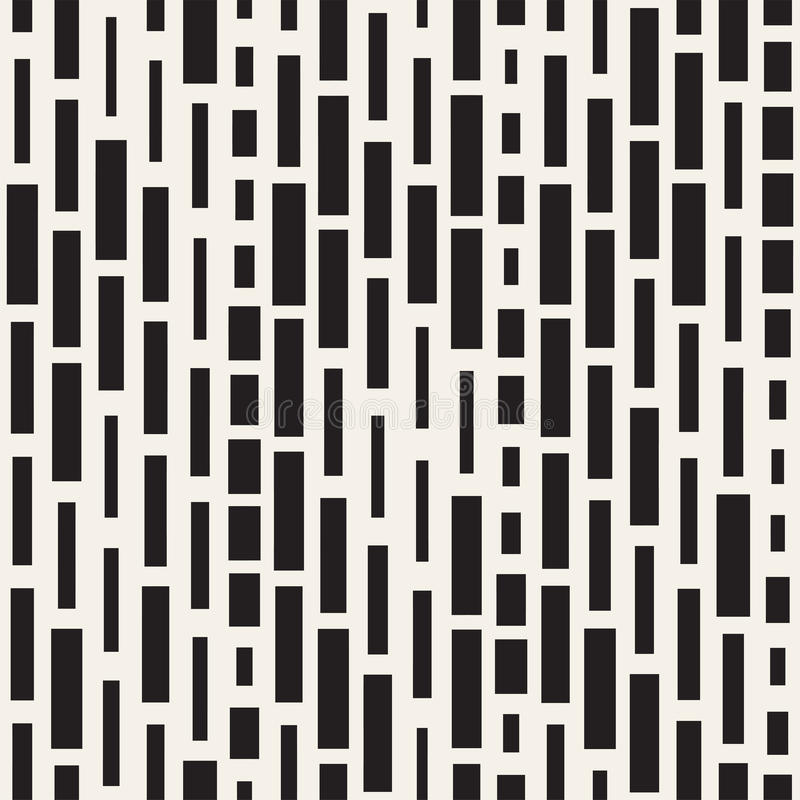 Vector Seamless Black And White Irregular Dash Rectangles Grid Pattern. Abstract Geometric Background Design vector illustration