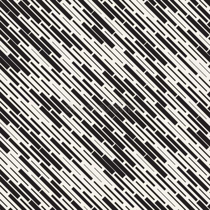 Vector Seamless Black And White Irregular Dash Rectangles Grid Pattern. Abstract Geometric Background Design. Vector Seamless Black And White Irregular Dash stock illustration