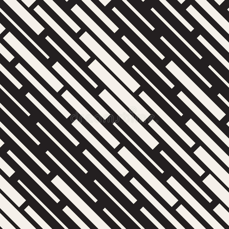 Vector Seamless Black And White Irregular Dash Rectangles Grid Pattern. Abstract Geometric Background Design. Vector Seamless Black And White Irregular Dash vector illustration