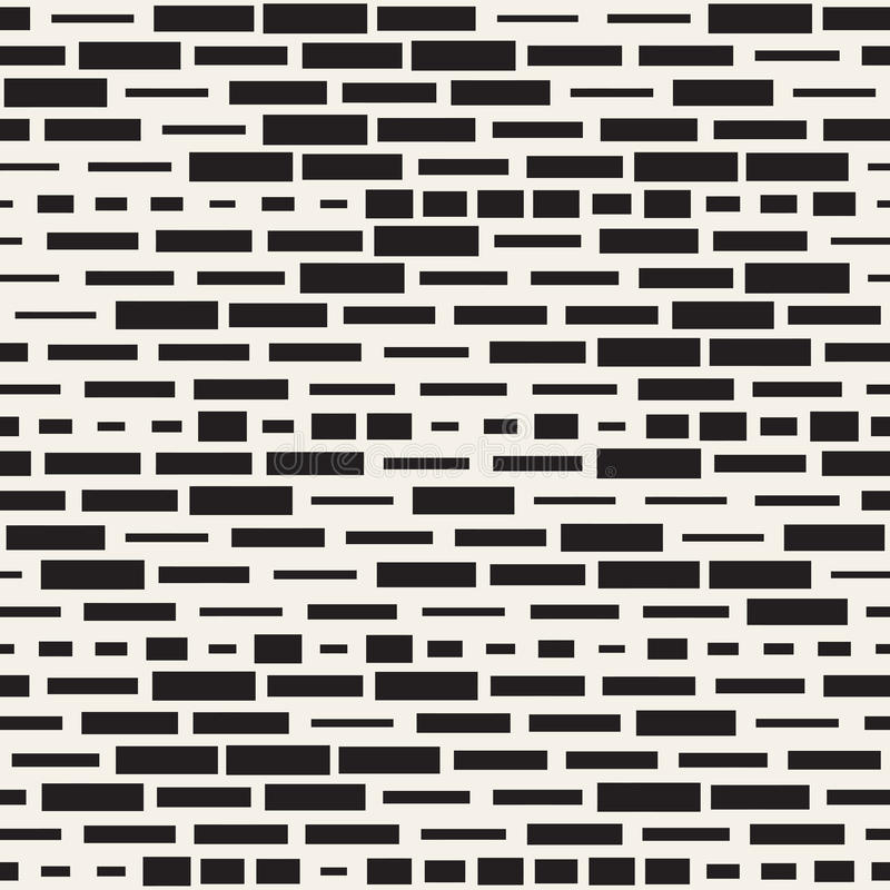 Vector Seamless Black And White Irregular Dash Rectangles Grid Pattern. Trendy Monochrome Texture. Abstract Geometric Background Design royalty free illustration