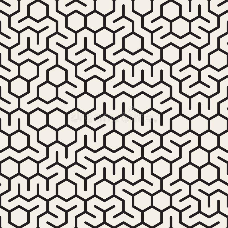 Vector Seamless Black and White Irregular Hexagonal Grid Pattern. Abstract Geometric Background Design vector illustration