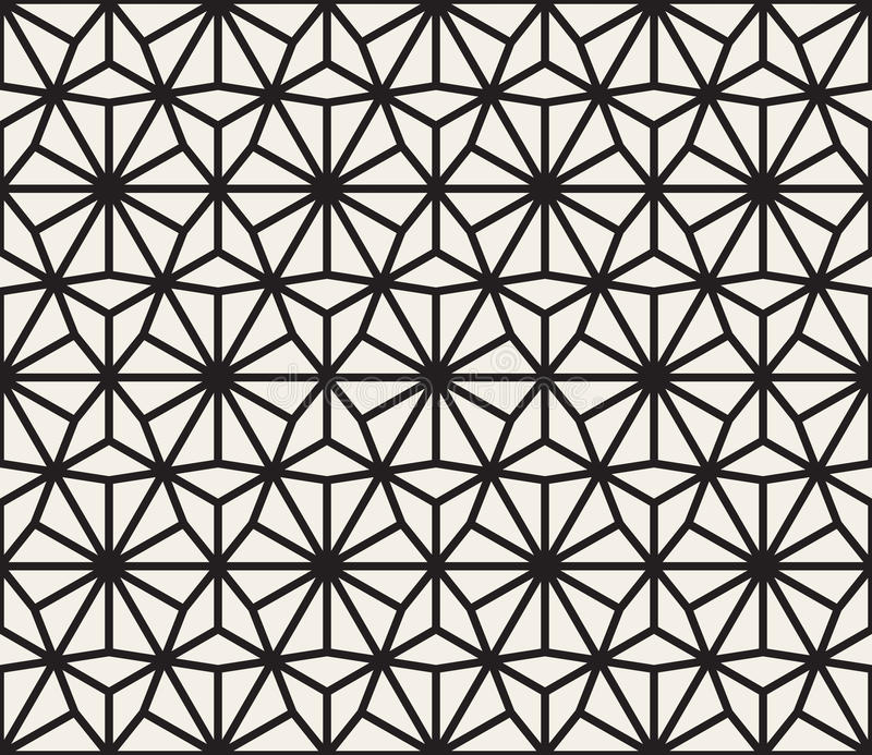 Vector Seamless Black and White Lines Grid Pattern. Abstract Geometric Background Design royalty free illustration