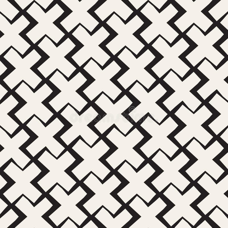Vector Seamless Black And White Lines Pattern Abstract Background. Cross Shapes Geometric Tiling Ornament. stock illustration