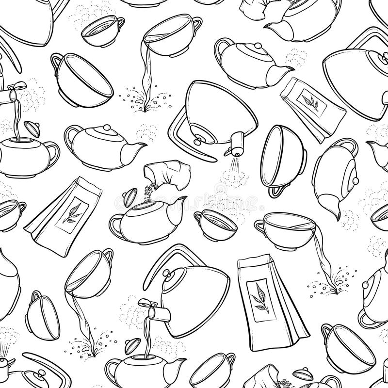 Vector seamless black and white pattern sketch illustration tea brew procedure icons. Tea making instruction. Guidelines royalty free illustration
