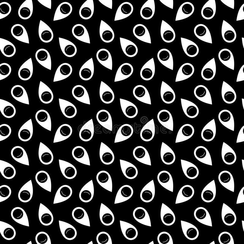 Vector Seamless Black and White pin icon pattern Background. Background design with texture, geometric pattern, triangles, star, line and circle shapes in stock illustration