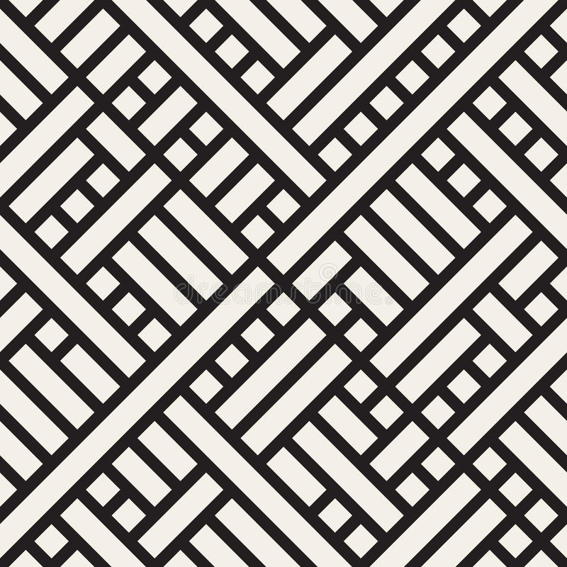 Vector Seamless Black and White Rectangular Geometric Intersecting Lines Square Pattern vector illustration