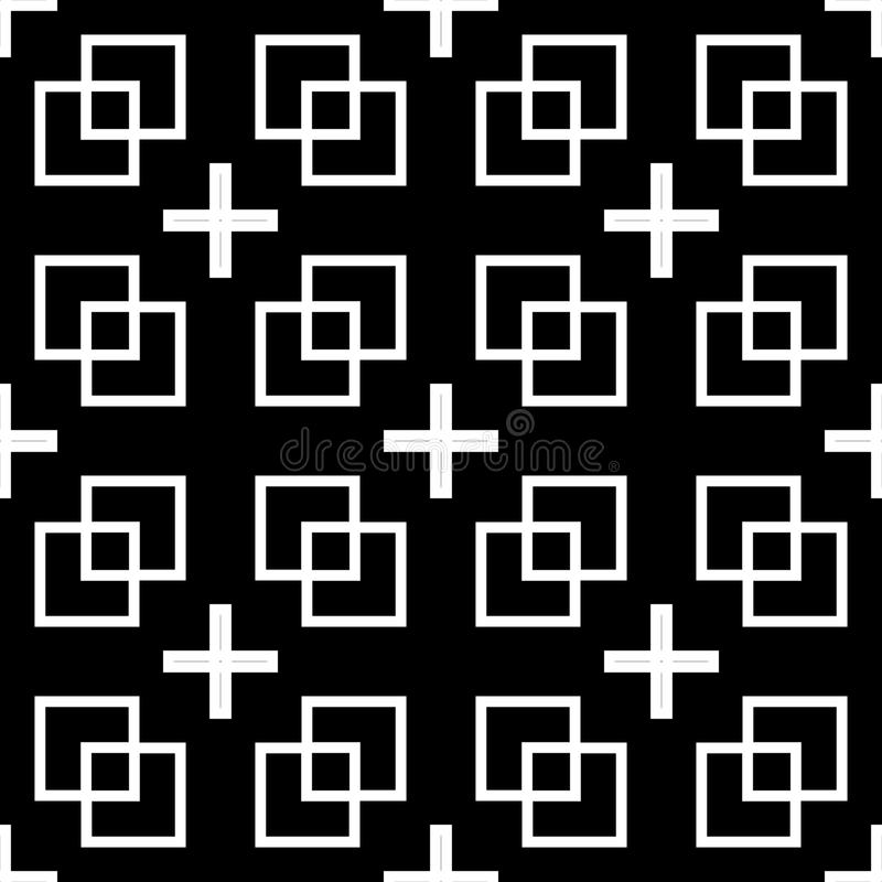 Vector seamless black & White retro pattern design stock illustration