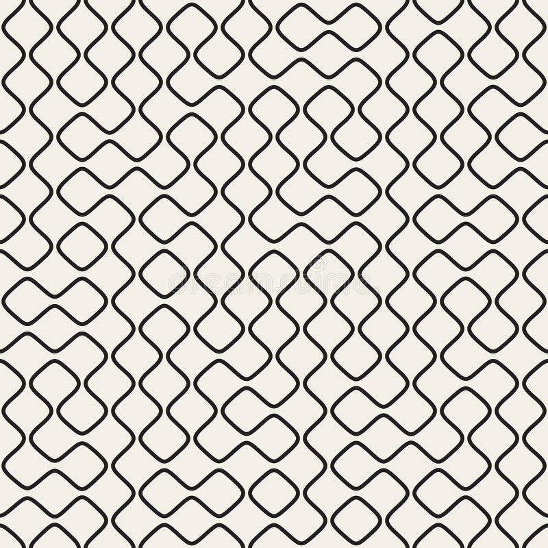 Vector Seamless Black and White Round Line Grid Geometric Pattern. Vector Seamless Black and White Round Line Grid Irregular Pattern. Abstract Geometric royalty free illustration