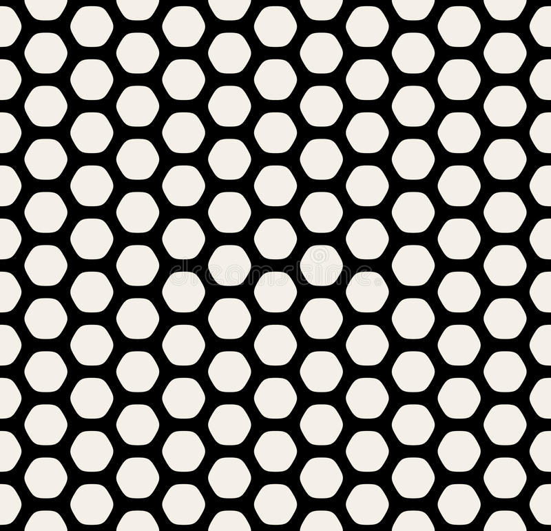 Vector Seamless Black and White Rounded Hexagon Line Grid HoneyComb Simple Pattern. Abstract Background stock illustration