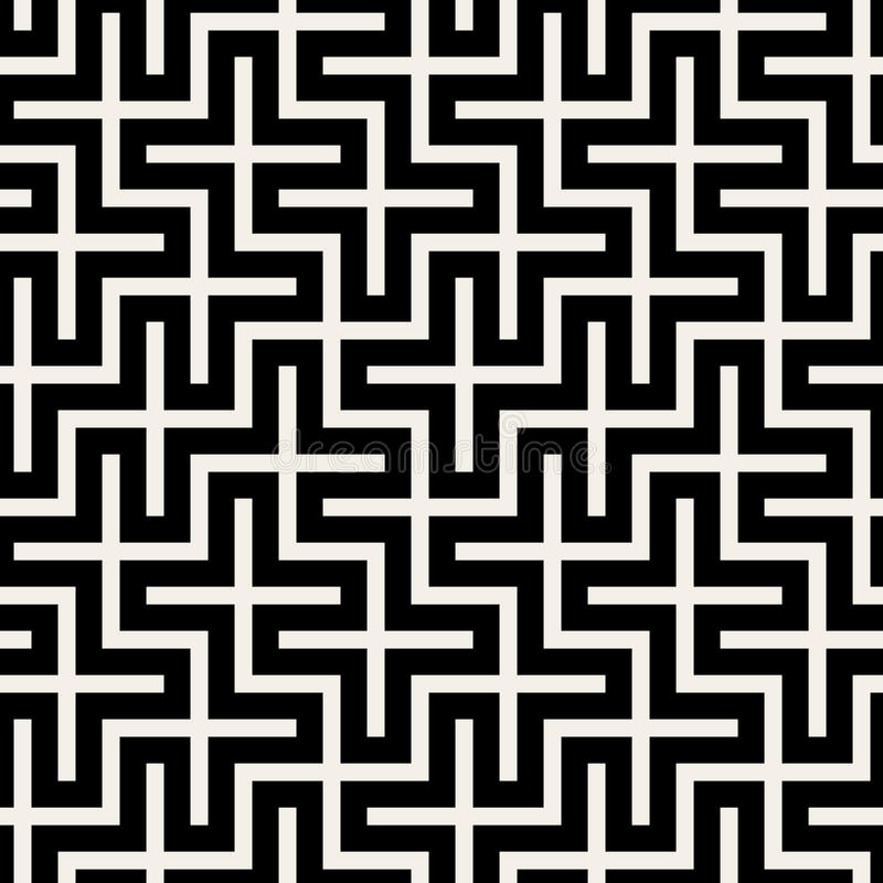 Vector Seamless Black & White Square Maze Grid Pattern. Background stock illustration