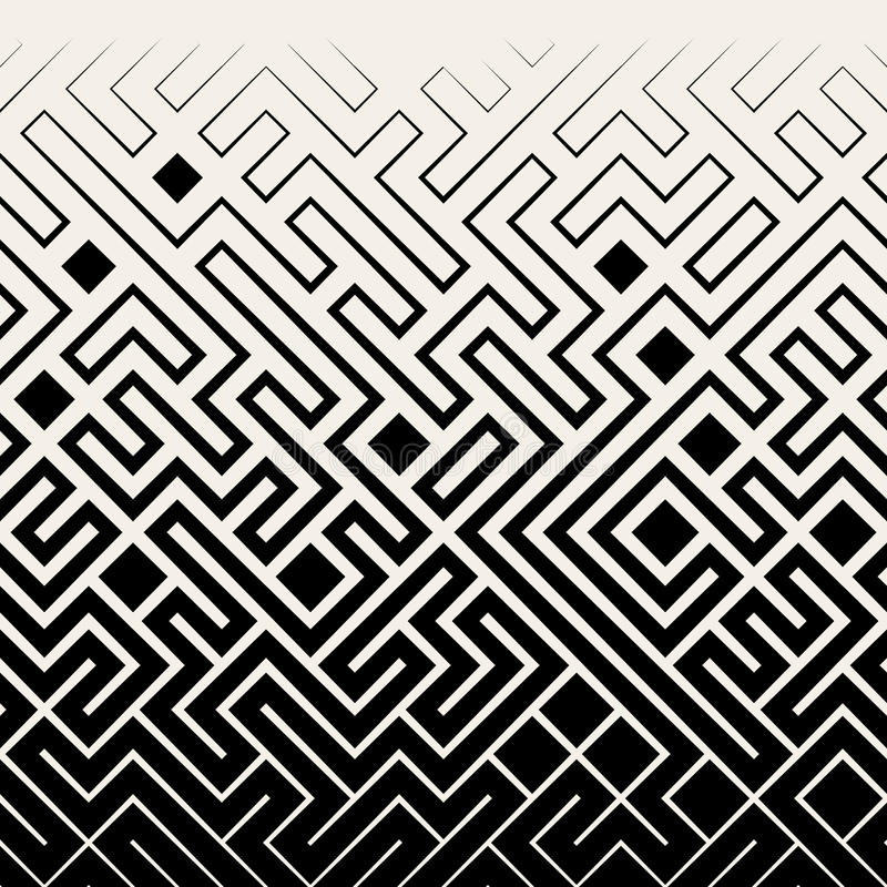 Vector Seamless Black & White Square Maze Lines Halftone Pattern vector illustration