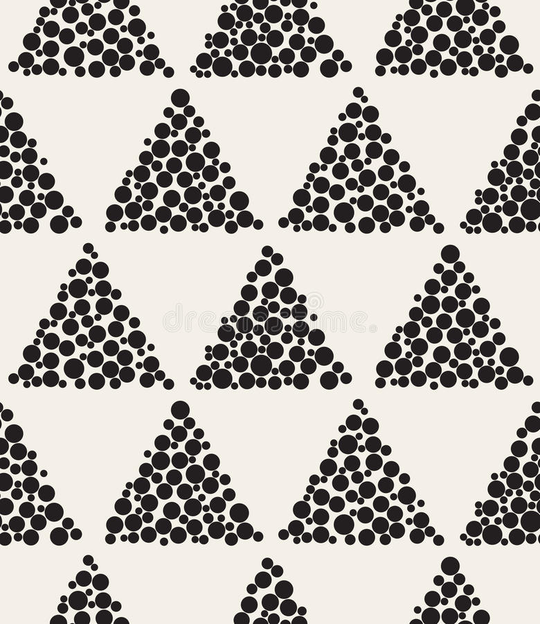 Vector Seamless Black and White Triangle Circle Filled Shape Checker Grid Pattern stock illustration