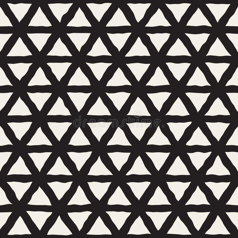 Vector Seamless Black And White Triangle Lines Grid Pattern. Abstract Freehand Background Design stock illustration
