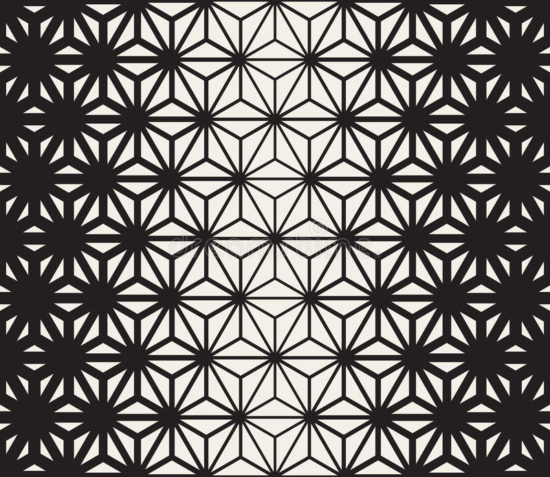 Vector Seamless Black and White Triangle Lines Grid Pattern. Abstract Geometric Background Design royalty free illustration