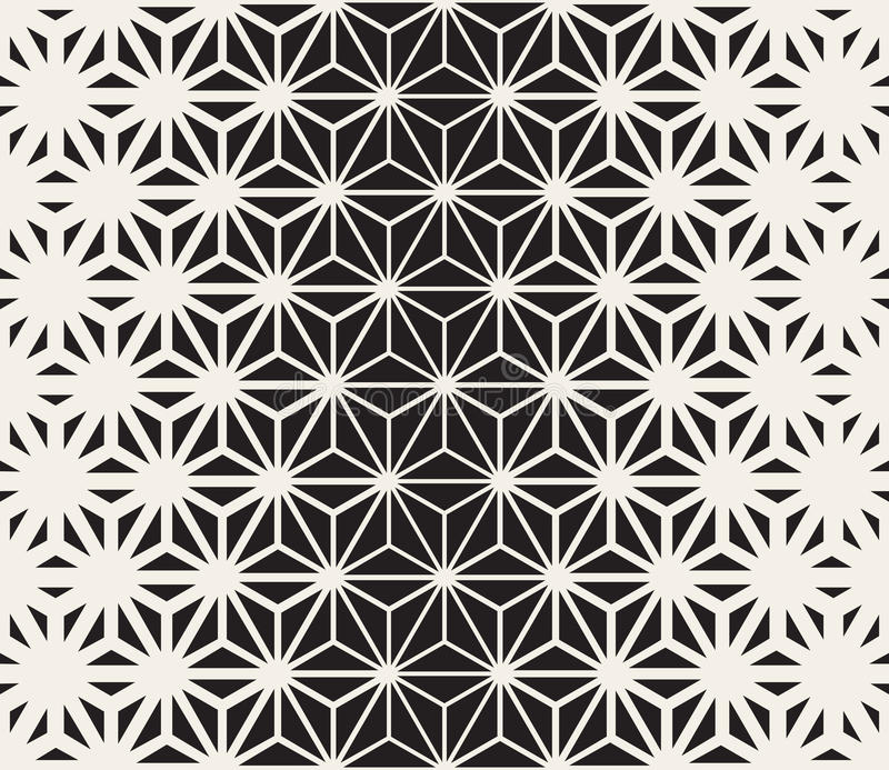 Vector Seamless Black and White Triangle Lines Grid Pattern. Abstract Geometric Background Design stock illustration