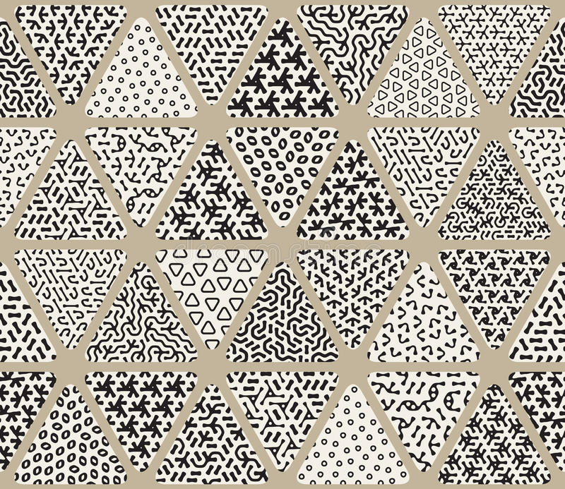 Vector Seamless Black and White Triangle Patchwork Tiling Filled With Jumble Patterns vector illustration