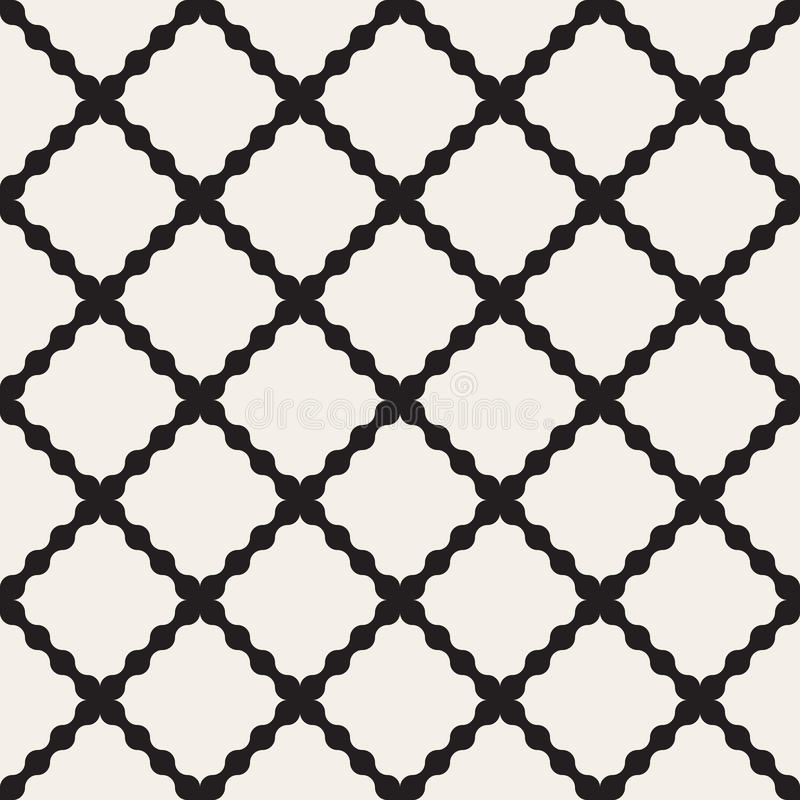 Vector Seamless Black And White Wavy Lines Geometric Rhombus Grid Pattern. Abstract Background vector illustration