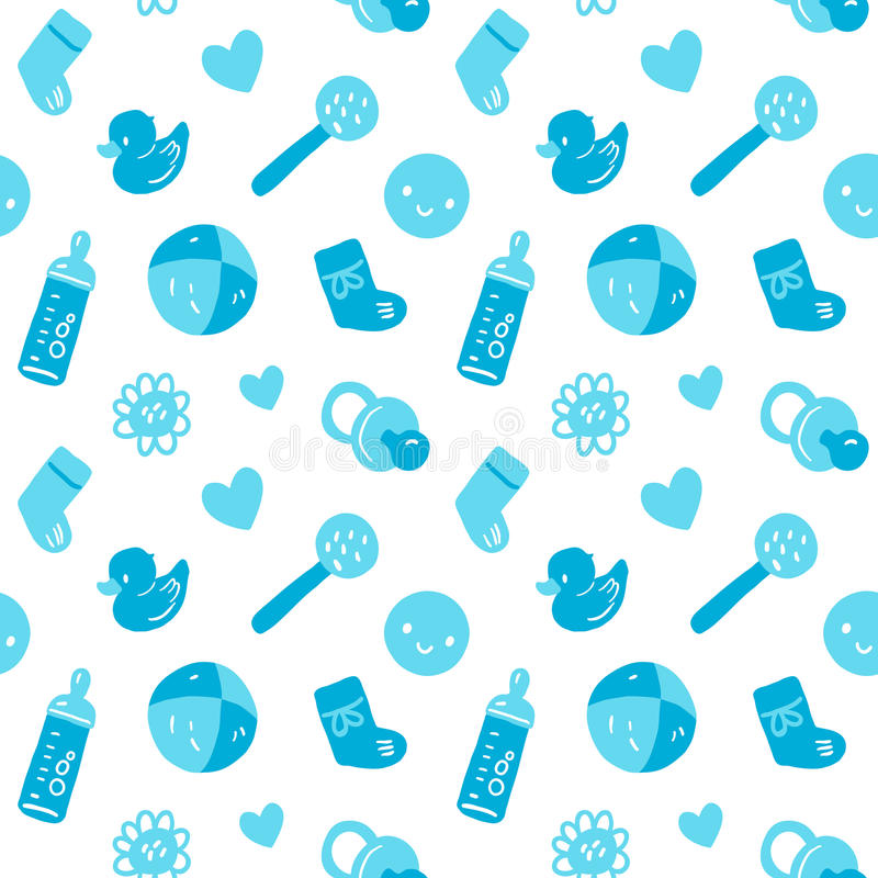Vector seamless blue baby pattern with toys. Vector seamless baby pattern with toys vector illustration