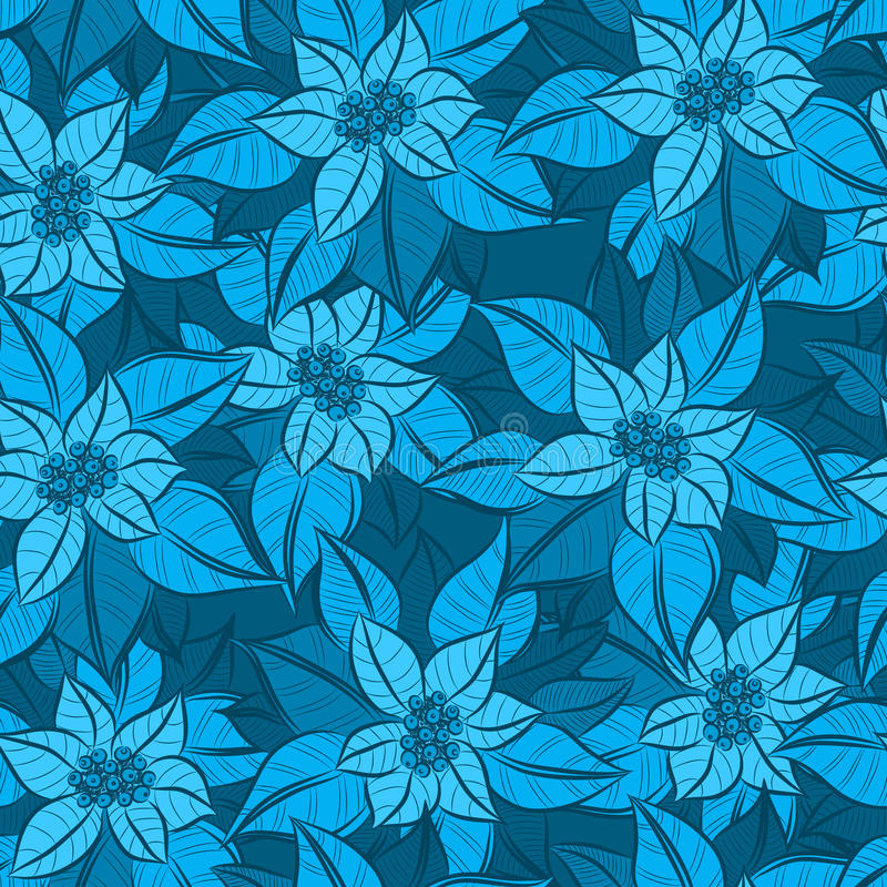 Vector seamless blue Christmas Flower background royalty free illustration