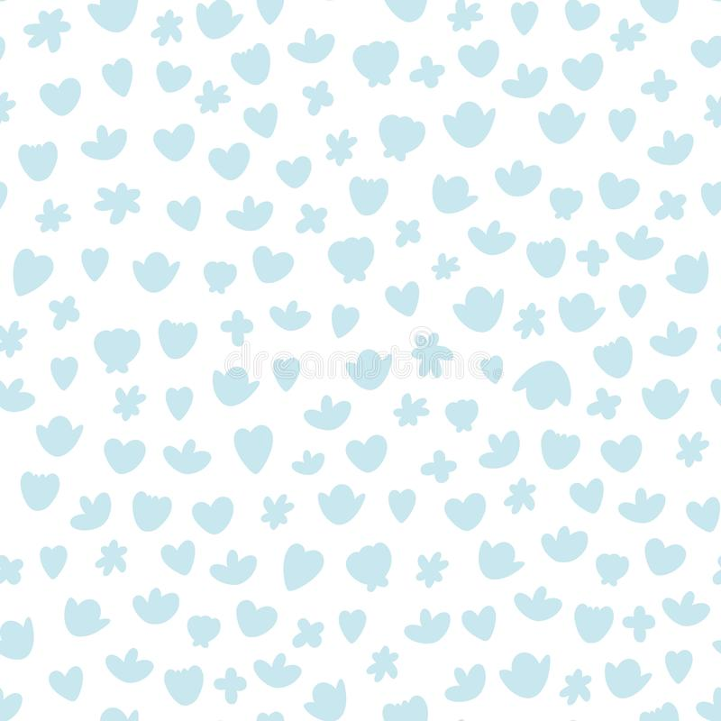 Vector seamless blue nursery pattern with rounded shapes. Good for wrapping paper texture, posters, kids design, greeting cards, royalty free illustration